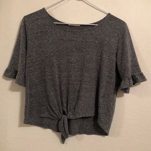 Grey top with built in ribbon